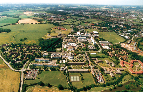 Aerial view of the University of Warwick and surroundings